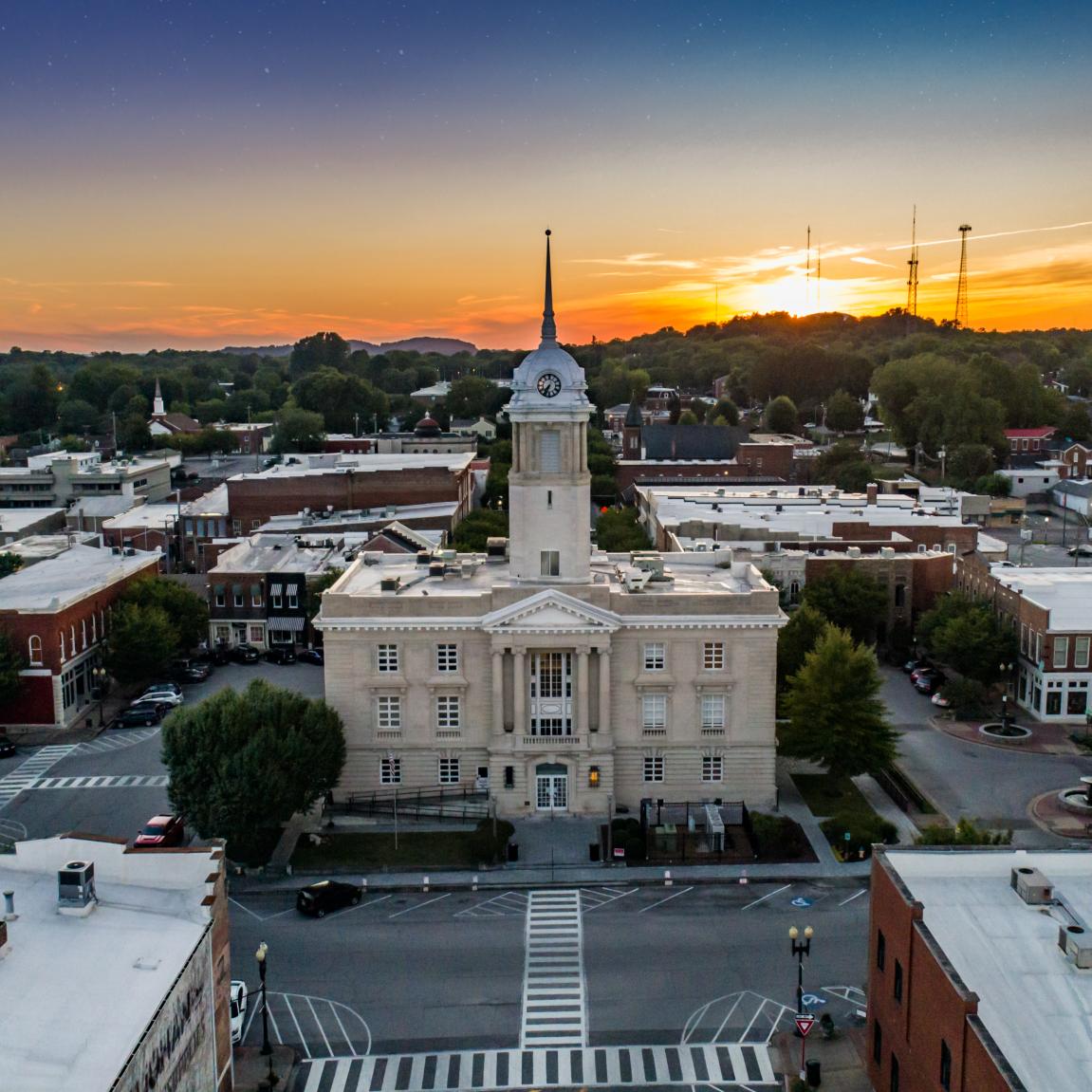 Columbia Square at Sunset Aerial 1