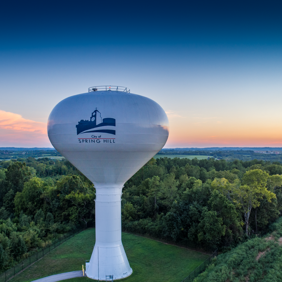 Spring Hill Water Tower Sunset w Const